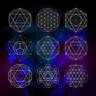 Geometria sagrada. símbolos e sinais de astrologia de numerologia