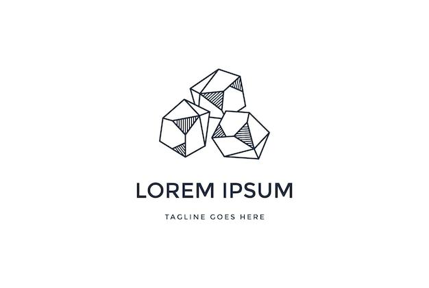 Geométrica minimalista simples gem stone rock logo design vector