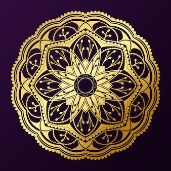 Geométrica padrão de mandala de ouro sobre fundo roxo