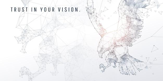 Geométrico abstrato e vértice de águia e visão de tecnologia e conceito futurista, águias americanas e aves de rapina americanas