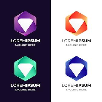 Geométrico colorido com modelo de design de logotipo de ícone de diamante