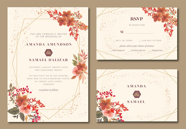 Geométrico com convite de casamento em aquarela floral