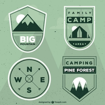 Geométricos campos verdes emblemas