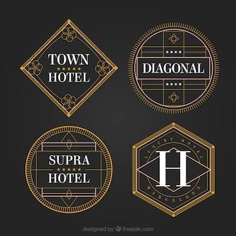 Geométricos logos de hotéis em um estilo do vintage