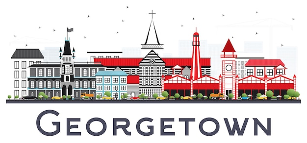 Georgetown, guiana, cidade, skyline, com, cinzento, edifícios. viagem de negócios e conceito de turismo com arquitetura moderna. georgetown cityscape com pontos de referência.