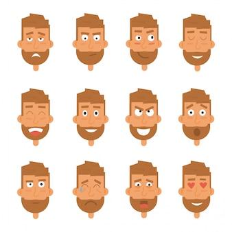 Geração de empresário de várias expressões. emoções enfrenta caracteres de vetor.
