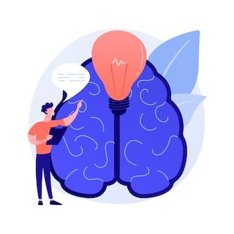 Geração de ideias inovadoras. pensamento criativo, visão cognitiva e inspiração, mente genial e inventiva. pesquisa de solução de problema bem-sucedida.