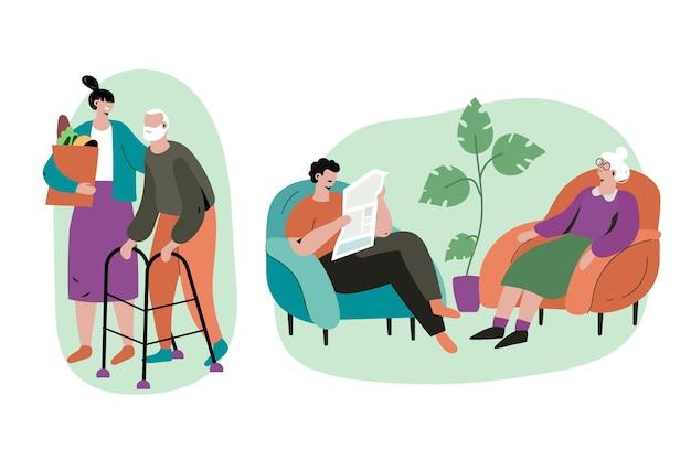 Geração mais nova cuidando e ajudando os idosos