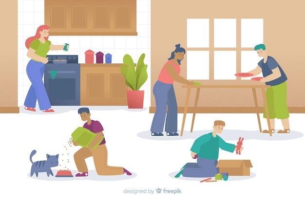 Gerações da família fazendo tarefas domésticas