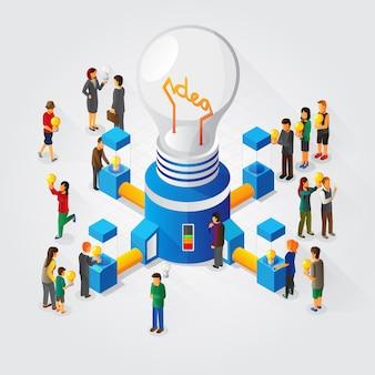 Gerador de ideias isométricas e conceito de compartilhamento