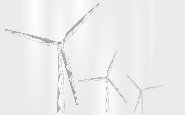 Gerador de vento baixo poli abstrato. economizar ecologia energia verde eletricidade
