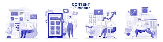 Gerenciador de conteúdo isolado definido em design plano pessoas desenhando imagens e site de elementos gráficos