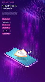Gerenciador de documentos para celular ou modelo de site de assinatura eletrônica