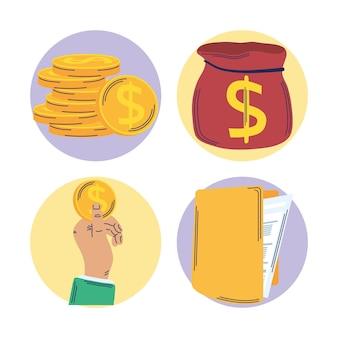 Gerenciamento de economia de quatro conjuntos de ícones