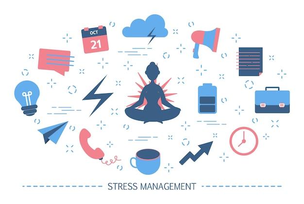 Gerenciamento de estresse. faça uma pausa durante o trabalho de escritório. idéia