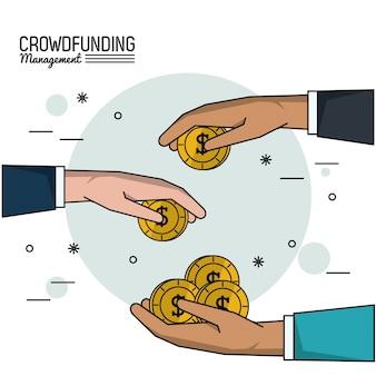 Gerenciamento de financiamento da multidão com as mãos com dinheiro