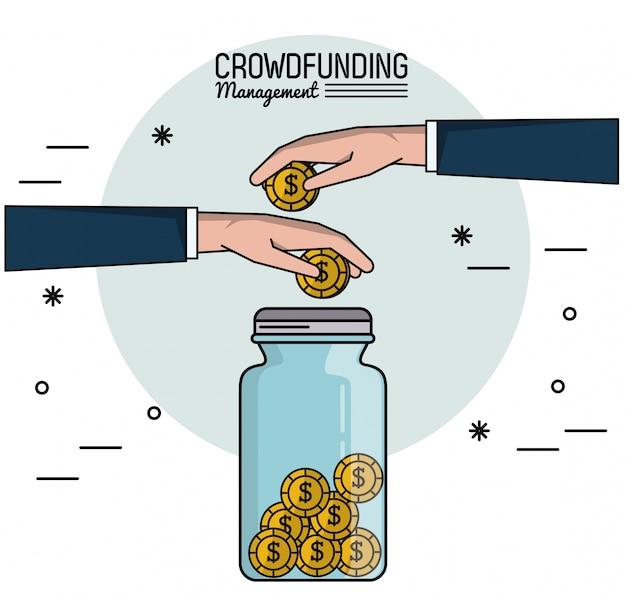 Gerenciamento de financiamento da multidão com as mãos economizando dinheiro na jarra de vidro