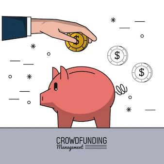 Gerenciamento de financiamento da multidão com as mãos economizando dinheiro no cofrinho