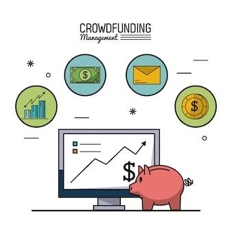 Gerenciamento de financiamento da multidão com computador desktop e caixa de dinheiro