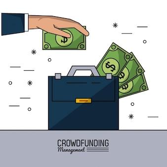 Gerenciamento de financiamento da multidão com pasta executiva com contas de dinheiro