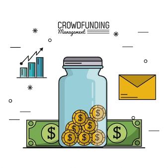 Gerenciamento de financiamento da multidão com poupar dinheiro e contas