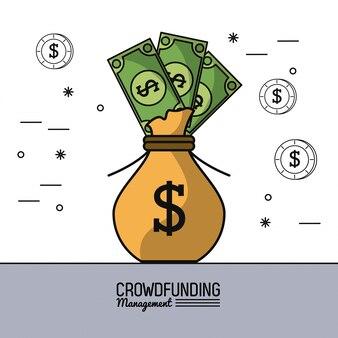 Gerenciamento de financiamento da multidão com saco cheio de notas de dólar