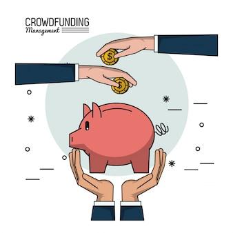 Gerenciamento de financiamento de multidões com caixa de dinheiro e economias de depósito de mãos