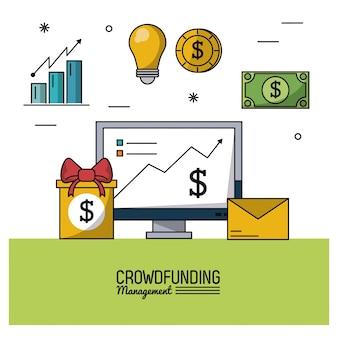 Gerenciamento de financiamento de multidões com computador desktop e economia