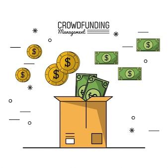 Gerenciamento de financiamento de multidões com depósito de dinheiro em caixa de papelão