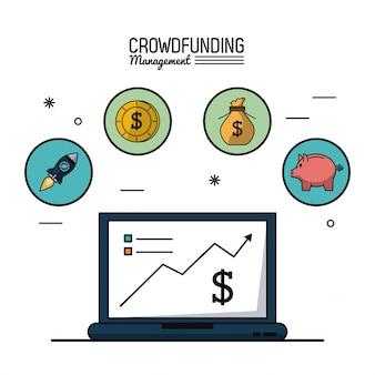 Gerenciamento de financiamento de multidões com gráficos de laptop e crescimento econômico