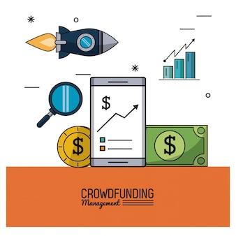 Gerenciamento de financiamento de multidões com smartphones e economias e gráficos de barras