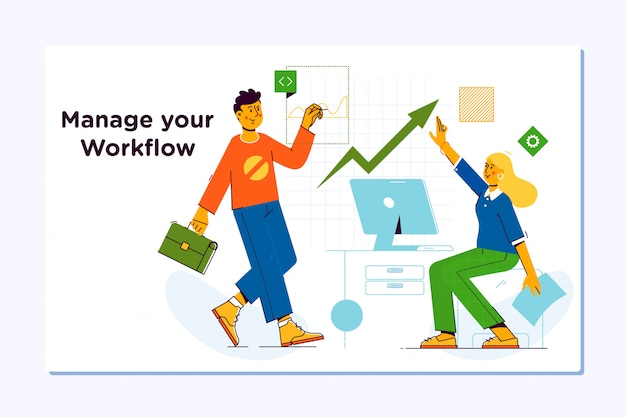 Gerenciamento de fluxo de trabalho de negócios. gerenciamento de projetos