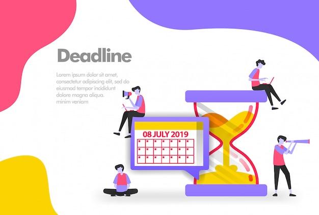 Gerenciamento de horários de trabalho, calendário e banner de ampulheta