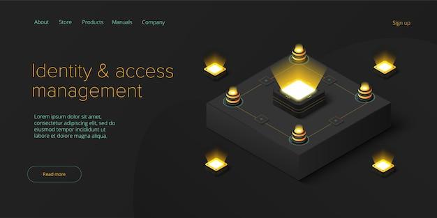 Gerenciamento de identidade e acesso infraestrutura de mainframe de rede ou datacenter abstrato ou blockchain