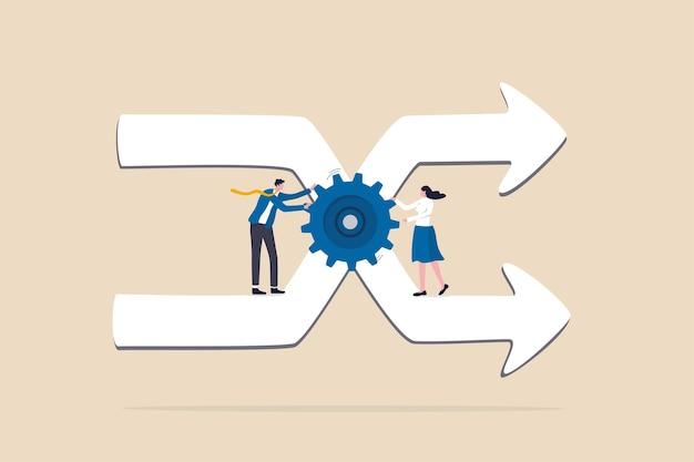 Gerenciamento de mudanças, profissional ou experiência para gerenciar a transformação da empresa ou implementar um novo conceito de processo, a equipe de funcionários do homem de negócios ajuda a girar a engrenagem para gerenciar as setas de direção de mudança.