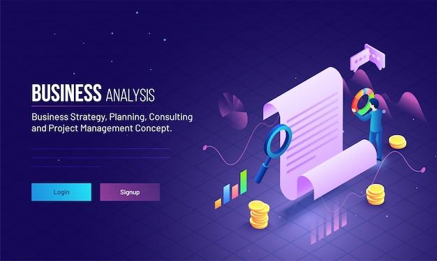 Gerenciamento de projetos ou conceito de análise de negócios.
