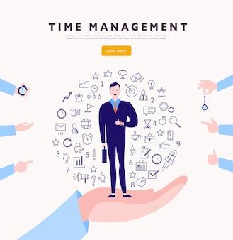 Gerenciamento de tempo conceito minimalista plano de vetor com empresário ficar isolado planejamento organizar ícones amp mãos humanas linha arte ilustração de negócios web banner consultoria projetos de coaching