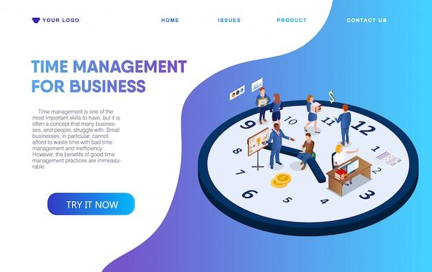 Gerenciamento de tempo de cartaz horizontal para negócios.
