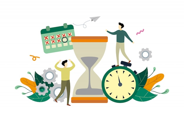 Gerenciamento de tempo de trabalho, ilustração plana de prazo com grande ampulheta e pessoas pequenas