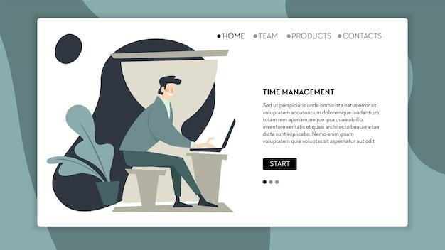 Gerenciamento de tempo e fluxo de trabalho, homem trabalhando no laptop, resolvendo problemas e tarefas corporativas