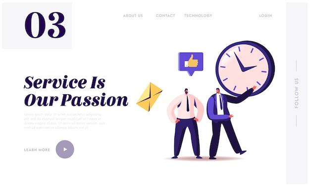 Gerenciamento de tempo, funil de vendas, procrastinação no modelo de página de destino de negócios.