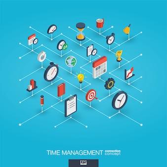 Gerenciamento de tempo integrado ícones web 3d. conceito de crescimento e progresso