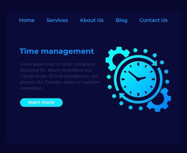 Gerenciamento de tempo, modelo de vetor de site, página escura