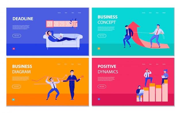 Gerenciamento de tempo, planejamento de página de aterrissagem colorida de negócios com ilustração em vetor diagrama dinâmica positiva