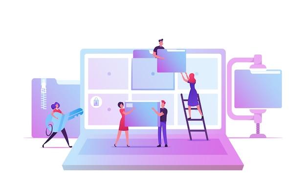 Gerenciamento eletrônico de documentos. arquivo de dados digitais sistema de armazenamento de arquivo de computador, catálogo de banco de dados de informação. ilustração plana dos desenhos animados