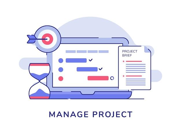 Gerenciar documento de lista de verificação de conceito de projeto na tela do monitor do laptop, objetivo da ampulheta, objetivo branco isolado fundo