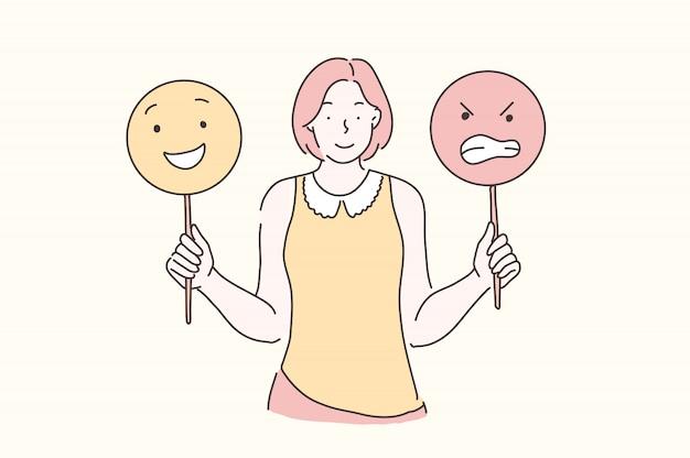 Gerenciar emoções, treinamento, conceito de humor.