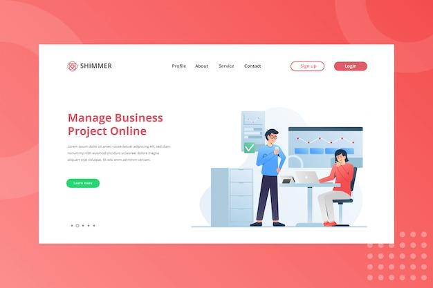 Gerenciar ilustração on-line de projeto de negócios para trabalhar em casa, na página de destino