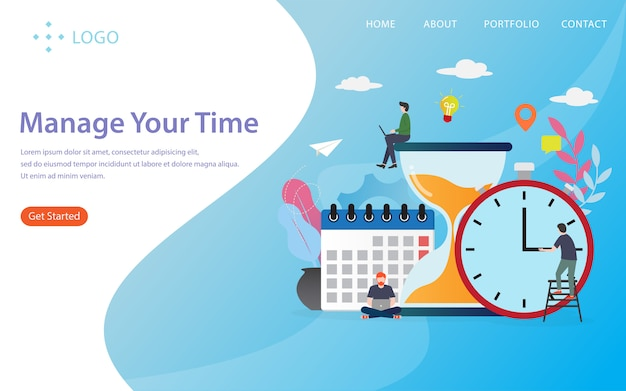 Gerenciar seu tempo, página de destino