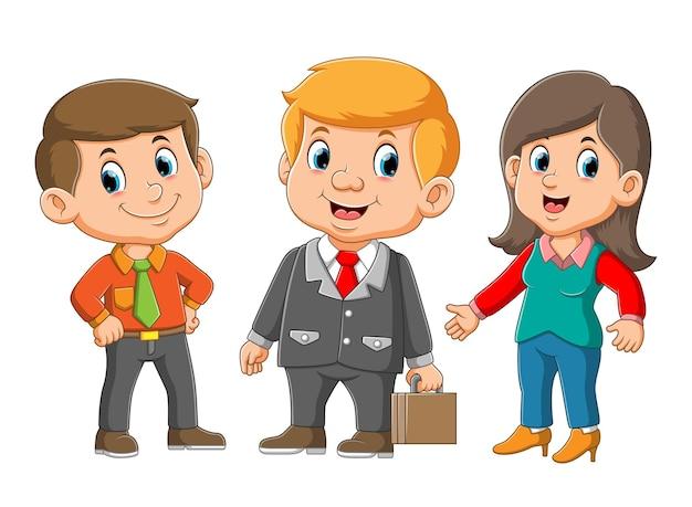 Gerente com sua secretária se reunindo com a ilustração do comerciante
